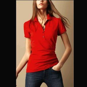 Burberry Red Nova Check Collar Polo Medium